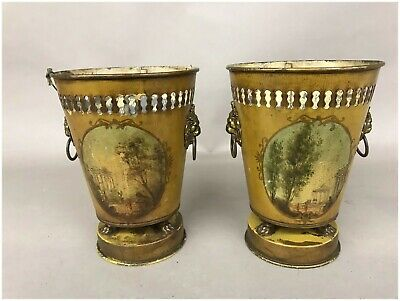 Pair of French Tole Painted Metal Urns circa 1890