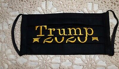 Embroidered-Washable Face Mask TRUMP 2020 100% cotton w/filter pocket Black/Gold