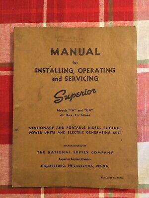 Original Superior Manual Models IA GA Stationary and Portable Diesel engines