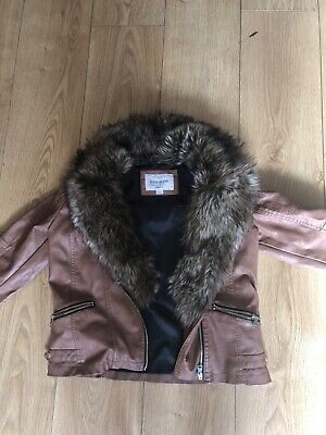 Brown Faux Leather Jacket With Fur River Island Girls Size 12 Used Once