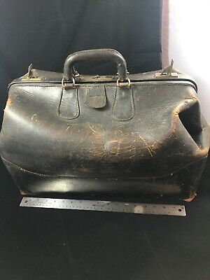 Antique Vintage Large Leather Medical Doctor's Bag