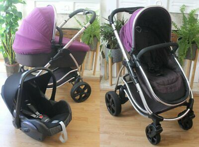 Lovely Icandy Strawberry Elderberry  Travel System 3 In 1 Maxi Cosi Car Seat
