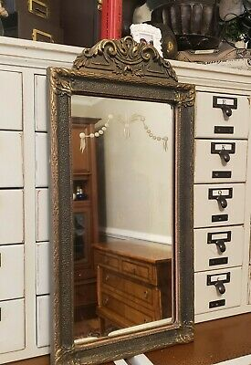 Antique vintage reverse etched wood & gilt gesso wall mirror ornate gold
