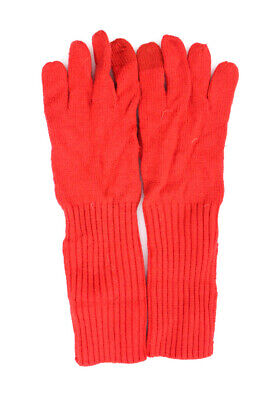 Coach Womens Ribbed Knit Wrist Length Gloves Red Size Extra Small