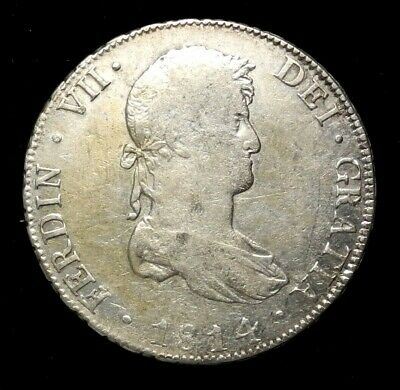 Bolivia 1814 PTS PJ 8 Reales Silver Colonial Coin