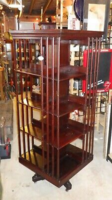 "Antique Late 1800's John Danner Post Revolving Bookcase Library 61"" Tall - RARE!"