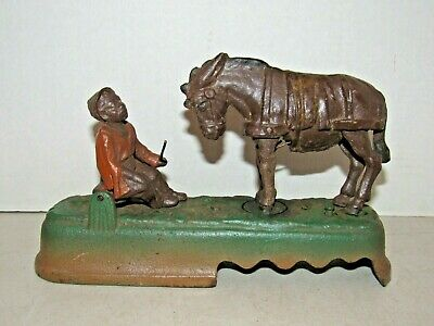 """Vintage Cast Iron Book of Knowledge Mechanical """"Always Did 'Spise a Mule"""" Bank"""