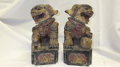 Pair Antique Chinese Foo Dogs Lions Hand Carved Wood With Stands - Red & Gold