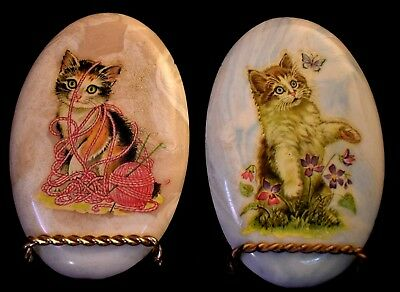 Oval Cat plaques Decoupage set of 2 different almost 6 inches tall wall hanging