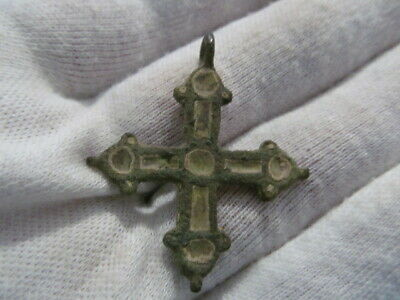Ancient bronze cross with two-sided enamels Kyivan Rus Vikings 11-13 AD № 707/5