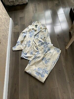 Lauren Ralph Lauren Pjs Pajamas Xl Floral Nwt Blue Cream Flowers