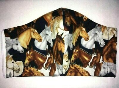 Washable Reversible Flannel Lined or Unlined Cotton Fabric HORSE Face Mask