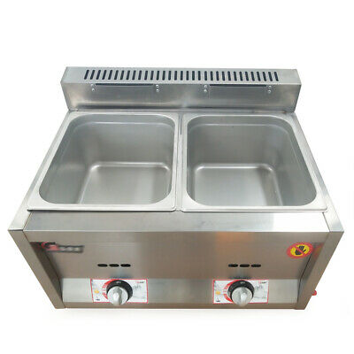 2 Pans 6L Commercial Gas Food Warmer Buffet Countertop Steam Table Steamers