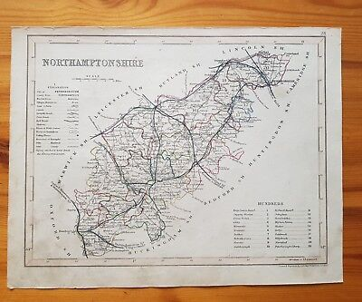 19th Century Engraving Map Of Northamptonshire  J Archer