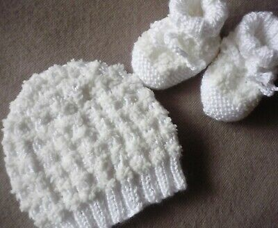 """Beanie & Booties. Extra Soft. White. """"Powder Puff"""" Yarn. Hand-Knitted By Me."""