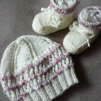 Beanie & Booties Set. Hand-Knitted By Myself. Cute & Extra Soft, Pink/Mauve