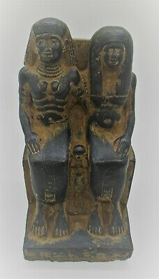 Scarce Circa 300Bce Ancient Egyptian Black Glazed Stone Statuette Seated Rulers
