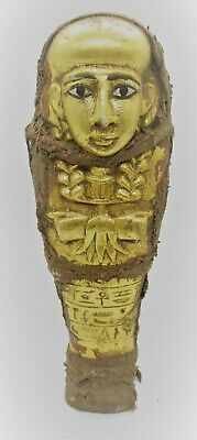 Circa 500 Bce Ancient Egyptian Gold Gilded Ushabti Wrapped In Coptic Cloth Rare