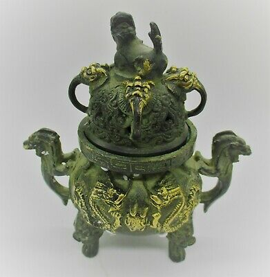 Beautiful Old Antique Chinese Gold Gilded Bronze Vessel With Dragons