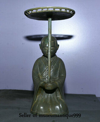 """10"""" Old Chinese Bronze Dynasty Kneel Man palace lantern oil lamp candlestick"""