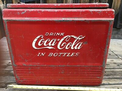 Vintage Coca-Cola Ice Chest circa 1950s Coke Cooler with Bottle Opener on Side