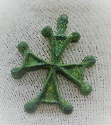 Ancient Byzantine Bronze Crusaders Cross Pendant Wearable