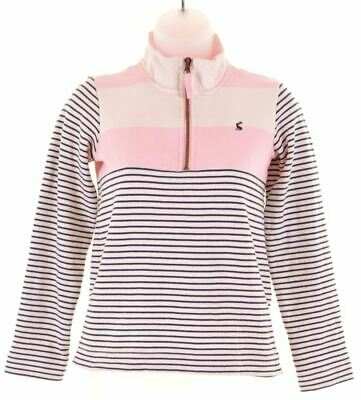 JOULES Girls Zip Neck Sweatshirt Jumper 9-10 Years White Striped  GB15