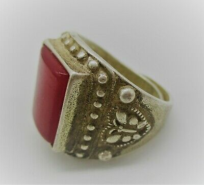 Beautiful Post Medieval Eastern Silver Signet Ring With Red Stone Insert