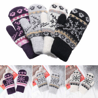 Warm Windproof Knitted Gloves Soft Mittens Imitation Cashmere Snowflake Pattern