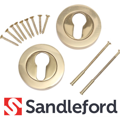 SANDLEFORD 55mm Polished Brass Escutcheon Euro Door Fitment Keyhole Cover