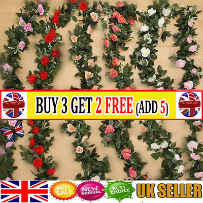 2x 8Ft Artificial Rose Garland Silk Flower Vine Ivy Wedding Garden Home Decor AT