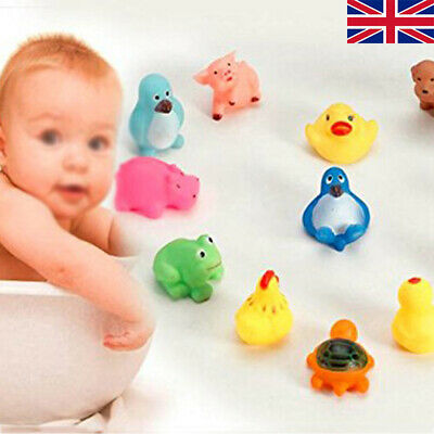 10PCS Rubber Children Animals Swimming Sound Squeeze Toys Baby Shower Bath AT