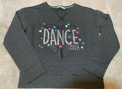 Marks & Spencer M&S Girls Grey Marl Long Sleeve Top Age 9-10 Yrs