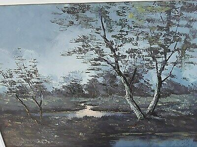 20th Century Oil Painting - Landscape View with Trees and Water Stream Pond