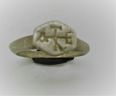 Scarce Ancient Byzantine Crusaders Silver Seal Ring With Heraldic Monogram