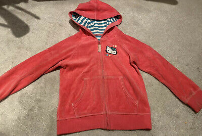M&S Hello Kitty Pink Raspberry Velour Hoodie Age 4-5 Years