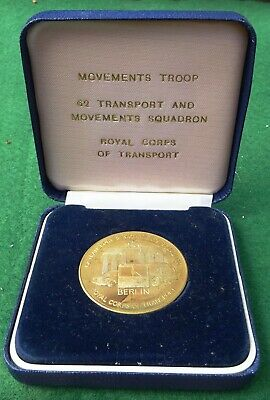 BRITISH ARMY ROYAL CORPS OF TRANSPORT, WEST GERMANY MEDAL c.1985, 38mm, CASED
