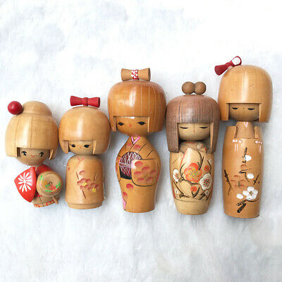 Set 5 Japanese Kokeshi Doll Vtg Wooden Carving Girl Hand-painted Sakura Blossom
