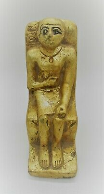 Scarce Ancient Egyptian Stone Gold Gilded Seated Statuette Of A Pharoah