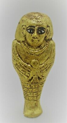 Ancient Egyptian Gold Gilded Faience Ushabti Shabti With Heiroglyphics