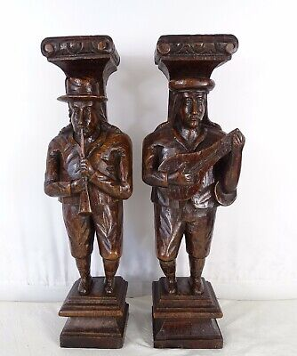 """13"""" Pair French Antique Hand Carved Solid Oak Wood Figures Corner Trim Salvage"""
