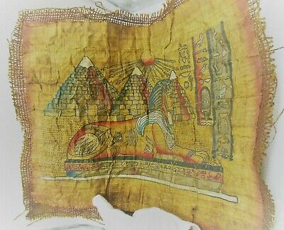 Very Rare Ancient Egyptian Papyrus And Coptic Cloth Sphinx And Pyramids