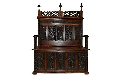 Extraordinary French Gothic Bench, Wonderful Carvings, 19th Century, Oak