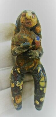 Circa 500 Bce Ancient Phoenician Sandcore Formed Mosaic Glass Fertility Figure
