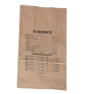 Heavy Duty Pre-Printed Crime Scene Paper Evidence Bag - Size 20# (250 count)