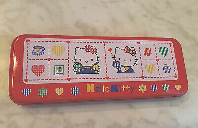 Hello Kitty Sanrio red pencil case tin stationary tray inside
