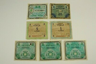 Seven Allied Occupation Currency 1943-44 Germany, Italy, France, Japan
