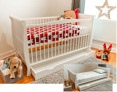White Sleigh Cot Bed 140x70cm with Sprung or Foam Mattress and Optional Drawer