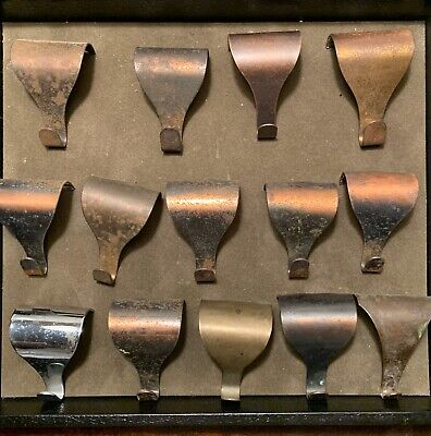 Antique Brass Picture Rail Hooks, Lot of 14