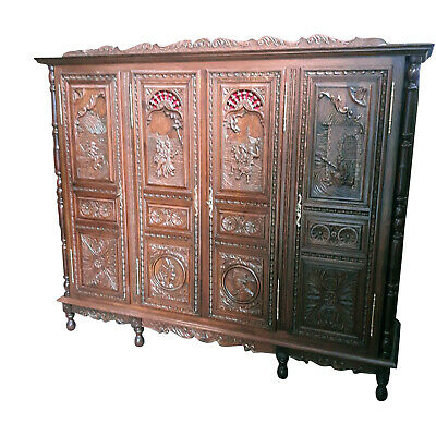 Heavily Carved French Breton Armoire Large 4 Door Model, Great Value, Oak, 19th